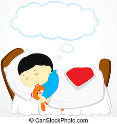 dreaming - boy sleeps in bed with teddy and dreams