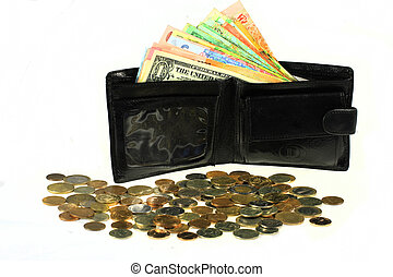 Many banknotes of different countries in the wallet. Black wallet with money.