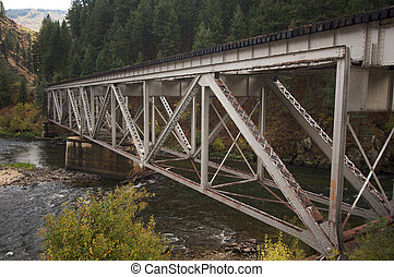 Iron Train Bridge Over Mountain River