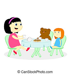 tea party - the girl has arranged a tea party with a doll...