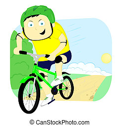 bicyclist - cyclist quickly going on the road