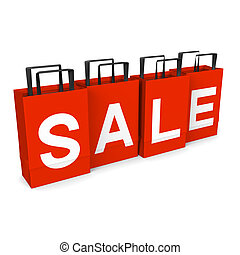 Sale Paper Bags. 3D render illustration. Isolated on White....