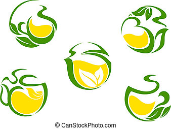 Tea symbols with lemon and green leaves