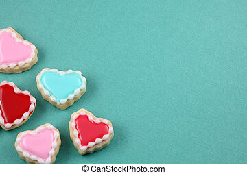 Heart Background - Teal cookie heart background with copy...