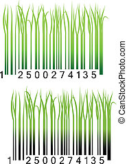 Bar code with fresh green grass for conceptual design