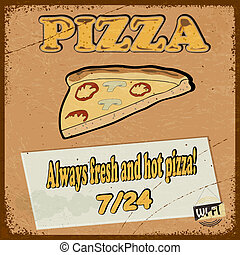 Vintage postcard with the image pizza slice of pizza. eps10