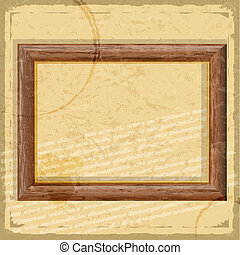 Vintage card with a picture of wooden frames and grunge elements