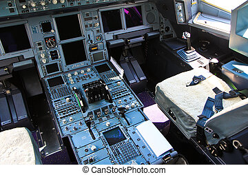 Center console and throttles in the airplane