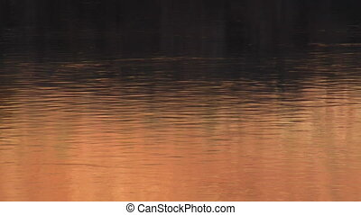 orange water ripples at sunset on the Colorado River