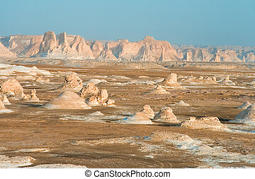 Panoramic of white desert - Panoramic of the formations of...