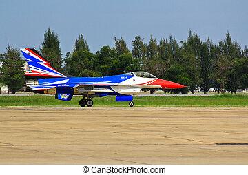 BANGKOK, THAILAND - JULY 02: F-16 of Royal Thai air force...
