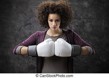 boxing woman - Beautiful girl with white boxing gloves