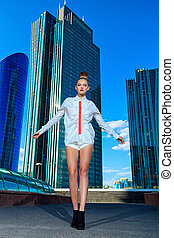 high technology - Full length portrait of a fashion model...