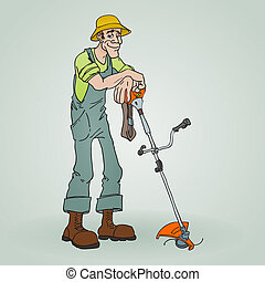 Gardener with Reaper - Isolated illustration of a man...