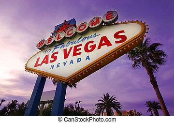 Las Vegas Welcome Sign at Sunset1 - A famous landmark that...