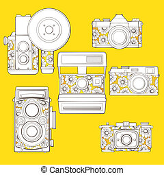 Vintage photo cameras set with floral pattern. - Retro photo...