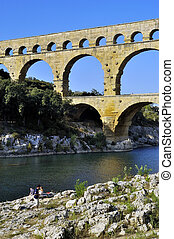 The bridge of Gard builds by the Romans and classified with...