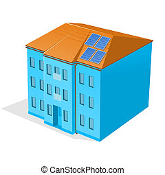Apartment Building - Modern house with blue solar panels on...