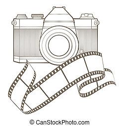 Retro photo camera with vignette