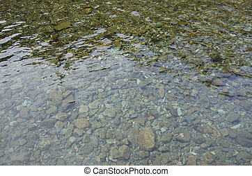 Shallow water - Background of shallow water of a river with...