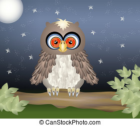 Night owl - A owl on a branch on a starry night with full...