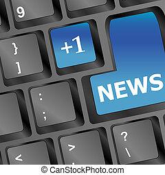news written on keyboard in blue
