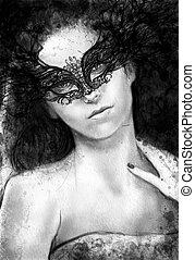 Sensual brunette with venetian mask, fantasy and romantic...