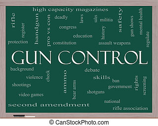 Gun Control Word Cloud Concept on a Blackboard with great...