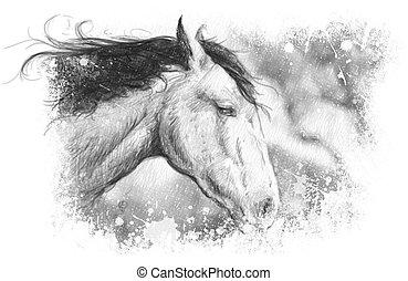 caballo, Ilustración, tatuaje, arte, Bosquejo
