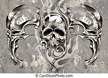 Tattoo art, 3 skulls over grey background, Sketch