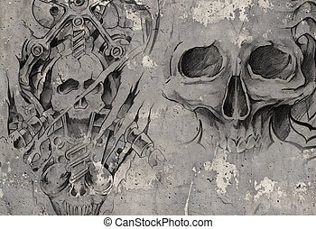 Tattoo art,2 biomechanical demons over grey background,...