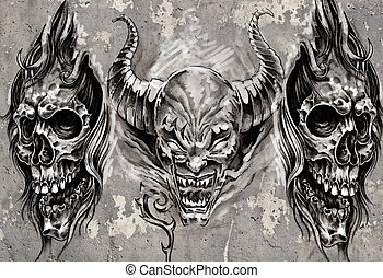 Tattoo art, 3 demons over grey background, Sketch - Tattoo...