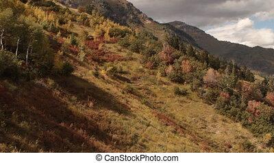 pan across mountains in autumn