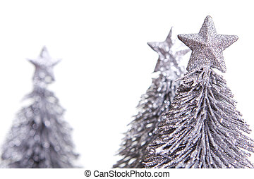 Silver Christmas Tree - Silver Christmas tree ornaments over...