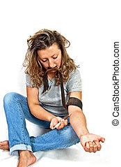Drug addict - Feeding the plot drug addict drug on a white...