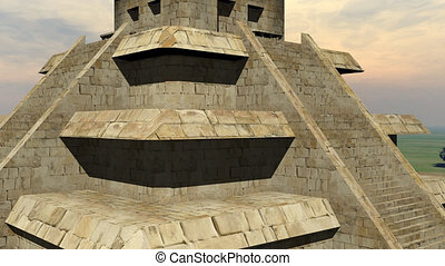 Maya pyramid - 3D render - Zoom out on Maya pyramid by...