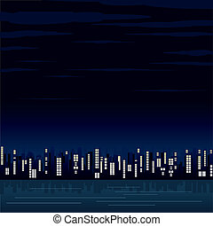 Night View of the Modern City. Vector Image