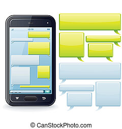 Phone Chatting Template Vector Image - Phone Chatting...