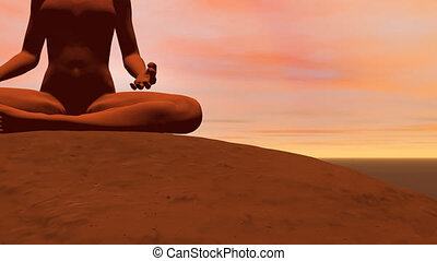 Meditation pose - 3D render - Camera turns around a woman...