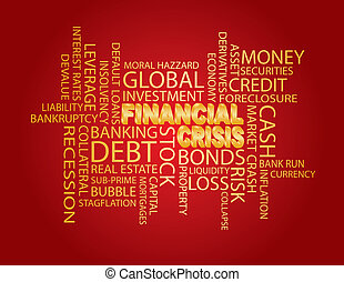 Financial Crisis Word Cloud Red Background - Financial...