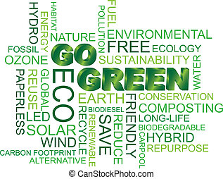 Go Green Word Cloud Illustration - Go Green Eco Word Cloud...