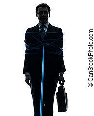 business man tied up prisoner silhouette