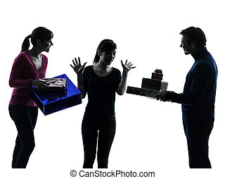 one caucasian family father mother daughter offering present surprises in silhouette studio isolated on white background