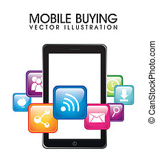 mobile buying - phone with apps, mobile buying. vector...