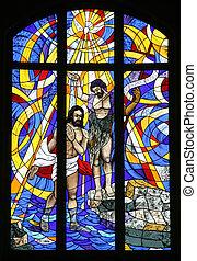Batismo, senhor, manchado, vidro