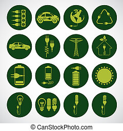 Energy Icons - Illustration of energy icons, electricity and...