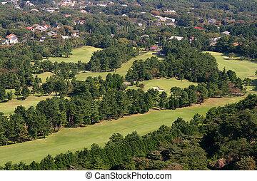 1, curso, aéreo, golfe, vista