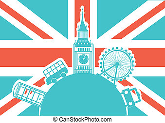 london vector - london illustration with monuments over...