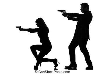 couple woman man detective secret agent criminal silhouette...