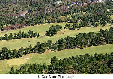 curso,  2, aéreo, golfe, vista